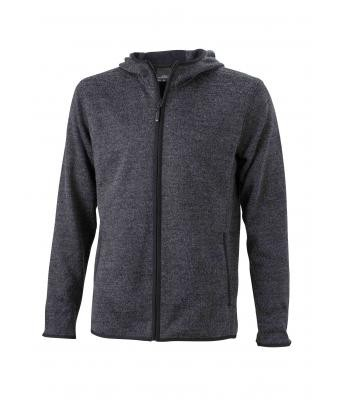 Men's Knitted Fleece Hoody (dark-melange/black)